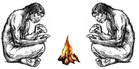 Раскраска люди у огня