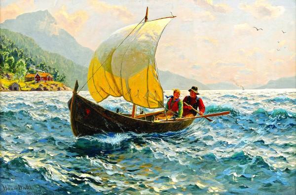 человек в лодке картина фото